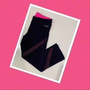 Lorna Jane 3/4 tights leggings pink & black EUC